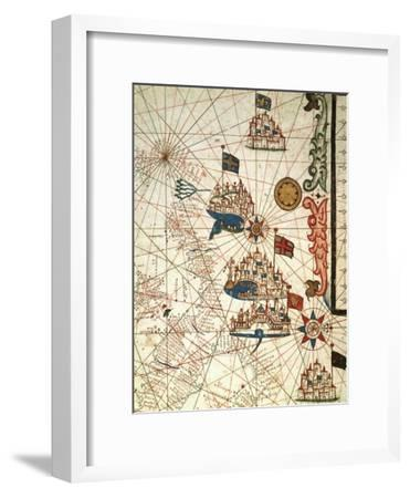 Portolan Chart Depicting the Cities of Venice, Genoa and Marseille--Framed Giclee Print