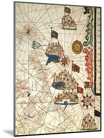 Portolan Chart Depicting the Cities of Venice, Genoa and Marseille--Mounted Giclee Print