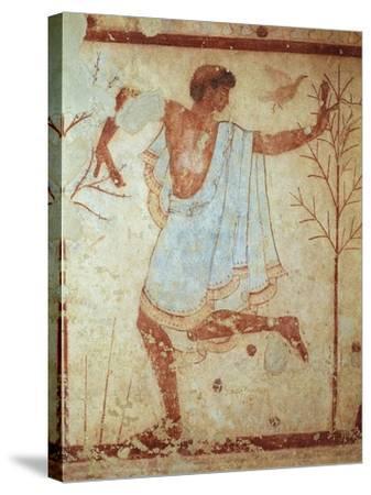 Italy, Latium Region, Tarquinia, Etruscan Necropolis, Tomb of Triclinium Depicting Dancer--Stretched Canvas Print