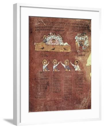 Last Supper and the Washing of Feet, Miniature from the Gospels Called Rossanensis--Framed Giclee Print