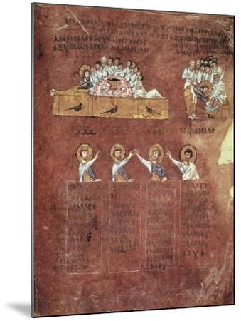 Last Supper and the Washing of Feet, Miniature from the Gospels Called Rossanensis--Mounted Giclee Print