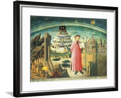 Portrait of Dante Alighieri, Florence and the Allegory of the Divine Comedy--Framed Giclee Print
