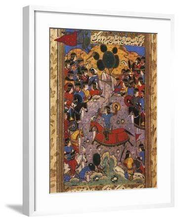 Scene of War, Miniature from a Manuscript by Shah Mahmud Al-Nishapuri, 1553--Framed Giclee Print