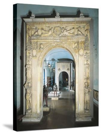 Marble Entrance Way of Medici Bank Palace, Sforza Castle, Milan, Italy, 16th Century--Stretched Canvas Print