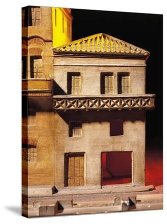 Roman Civilization, Model Reconstruction of Roman House with Balcony--Stretched Canvas Print
