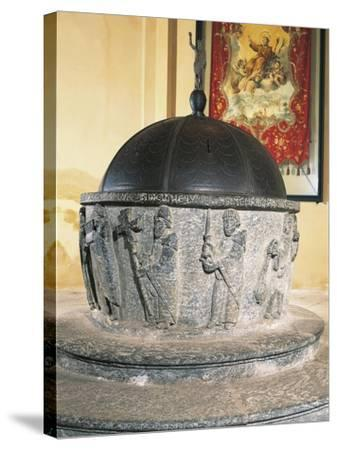 Decorative Detail of 12th Century Stone Baptismal Font, Baptistery of San Lorenzo, Chiavenna, Italy--Stretched Canvas Print