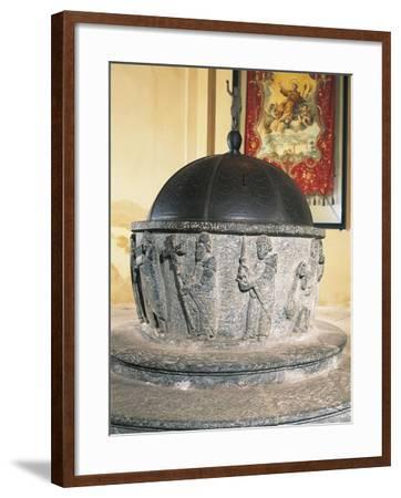 Decorative Detail of 12th Century Stone Baptismal Font, Baptistery of San Lorenzo, Chiavenna, Italy--Framed Giclee Print