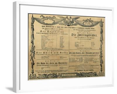 Austria, Vienna, Poster of Franz Schubert's Operetta the Twin Brothers, June 14, 1820--Framed Giclee Print