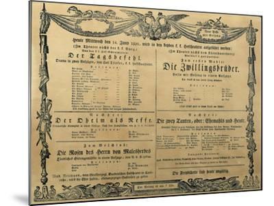 Austria, Vienna, Poster of Franz Schubert's Operetta the Twin Brothers, June 14, 1820--Mounted Giclee Print