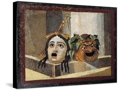 Mosaic Depicting Theatrical Masks, from Rome--Stretched Canvas Print