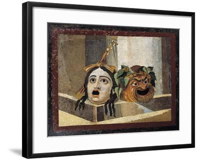Mosaic Depicting Theatrical Masks, from Rome--Framed Giclee Print