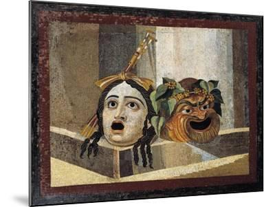 Mosaic Depicting Theatrical Masks, from Rome--Mounted Giclee Print