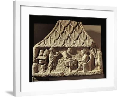 Relief Depicting a Meal Scene in a House--Framed Giclee Print