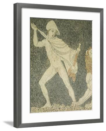 Alexander Great and Hephaestion During Lion Hunt, Ca 320 BC, Mosaic from Peristyle House 1--Framed Giclee Print