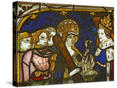 A Panel in the East Window Depicting St Helen with Emperor Constantine--Stretched Canvas Print