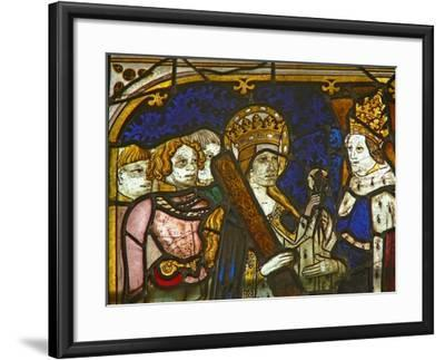 A Panel in the East Window Depicting St Helen with Emperor Constantine--Framed Giclee Print