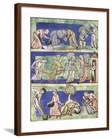 Reaping and Harvesting the Grain, Miniature from the Mirror of the Virgin--Framed Giclee Print