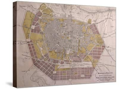 Italy, Bologna, Map with Town Plan--Stretched Canvas Print