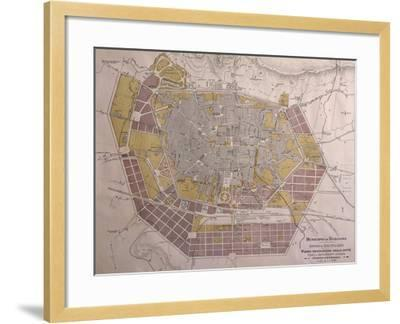 Italy, Bologna, Map with Town Plan--Framed Giclee Print