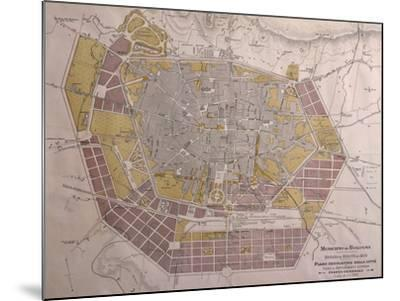 Italy, Bologna, Map with Town Plan--Mounted Giclee Print
