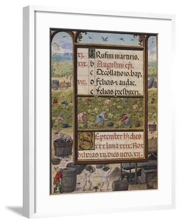 The Month of September, Miniature from the Book of Hours, Portugal 14th Century--Framed Giclee Print