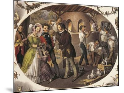 Austria, Vienna, Glass Blowers in their Workshop--Mounted Giclee Print