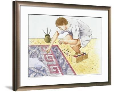 Ancient Rome, Man Making Tile Floor--Framed Giclee Print