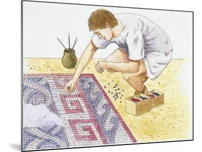Ancient Rome, Man Making Tile Floor--Mounted Giclee Print