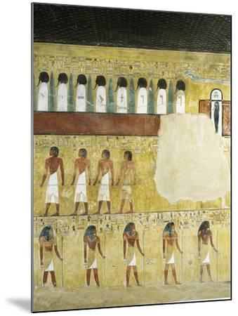 Egypt, Valley of the Kings, Tomb of Seti I, Mural Paintings in Burial Chamber from 19th Dynasty--Mounted Giclee Print