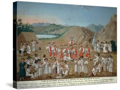 Feather Dance of Villa Alta Indios--Stretched Canvas Print