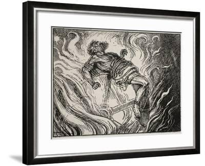 Ixion on the Wheel, from 'The Book of Myths' by Amy Cruse, 1925--Framed Giclee Print