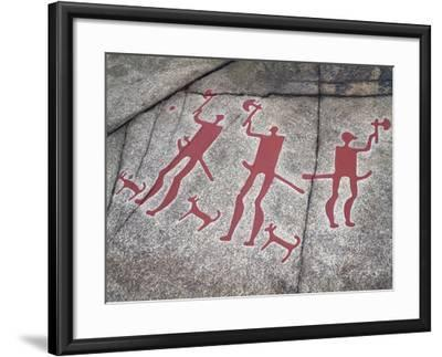 Sweden, Tanum, Tanumshede, Nordic Bronze Age Rock Carvings Depicting Warriors with Axes--Framed Giclee Print