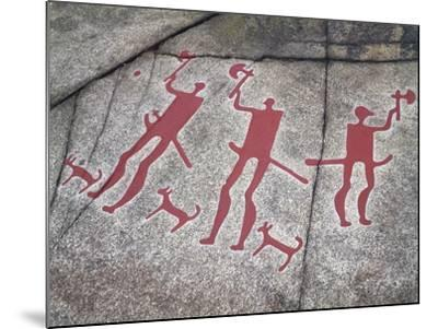 Sweden, Tanum, Tanumshede, Nordic Bronze Age Rock Carvings Depicting Warriors with Axes--Mounted Giclee Print