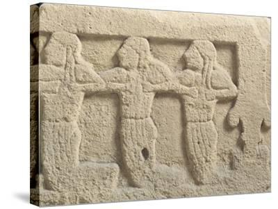 Fictile Tablet Depicting Mourners and Funeral Procession--Stretched Canvas Print