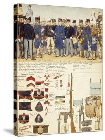 Uniforms of Grenadiers of Sardinia, Line Infantry, Troop of Kingdom of Italy--Stretched Canvas Print
