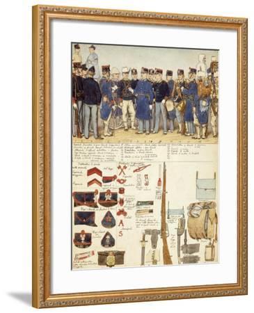 Uniforms of Grenadiers of Sardinia, Line Infantry, Troop of Kingdom of Italy--Framed Giclee Print