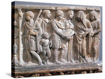 Relief Depicting Jason and Medea Making Peace--Stretched Canvas Print