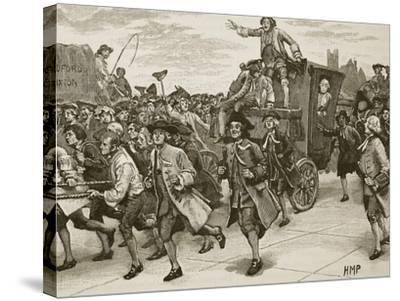 The Mob Releasing Mr Wilkes on His Way to Prison--Stretched Canvas Print