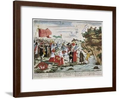 France, French Revolution, Caricature of Emigrants Crossing the Rhine--Framed Giclee Print