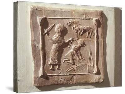 Tile Depicting Abraham and the Sacrifice of Isaac from the Walls of a Christian Basilica--Stretched Canvas Print