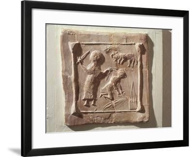 Tile Depicting Abraham and the Sacrifice of Isaac from the Walls of a Christian Basilica--Framed Giclee Print