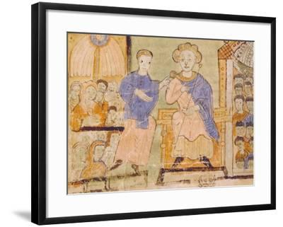 King David, Miniature from Expositiones Above Genesis, Manuscript Italy 11th Century--Framed Giclee Print