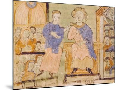 King David, Miniature from Expositiones Above Genesis, Manuscript Italy 11th Century--Mounted Giclee Print