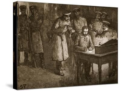 Prince Alexander of Bulgaria Signing His Abdication--Stretched Canvas Print