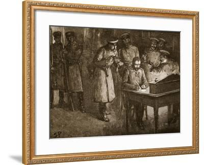 Prince Alexander of Bulgaria Signing His Abdication--Framed Giclee Print