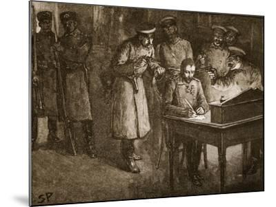 Prince Alexander of Bulgaria Signing His Abdication--Mounted Giclee Print