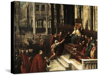 Italy, Venice, Painting of Fisherman Giving Ring to Doge of Venice--Stretched Canvas Print