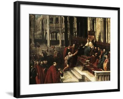 Italy, Venice, Painting of Fisherman Giving Ring to Doge of Venice--Framed Giclee Print