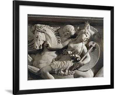 Marble Sarcophagus with Marble Group on Lid Representing Deceased Couple--Framed Giclee Print