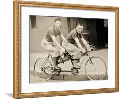 Two Men Wearing Plus-Fours on a Tandem, Sydney, Australia, 1933--Framed Photographic Print
